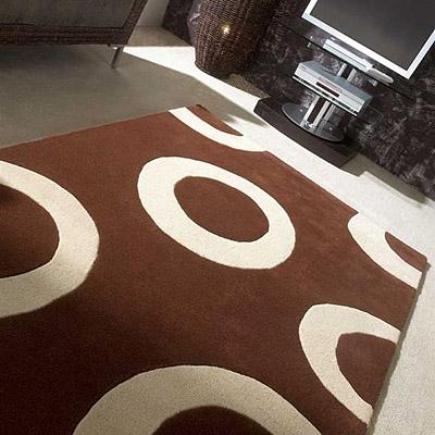 tapis impex en laine marron et beige carving 140x200. Black Bedroom Furniture Sets. Home Design Ideas
