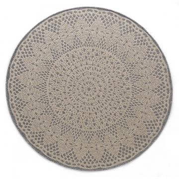tapis rond crochet gris - art for kids