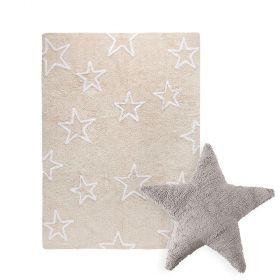 tapis estrellas beige et coussin stars marron lorena canal