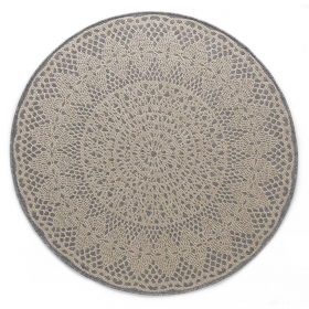 tapis rond crochet gris - art for kids