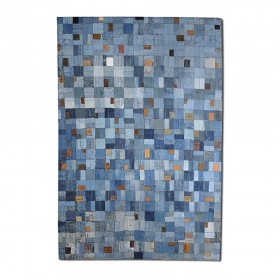 tapis cousu main en coton brio bleu the rug republic