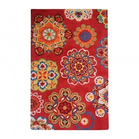 tapis tufté main medallion rouge the rug republic