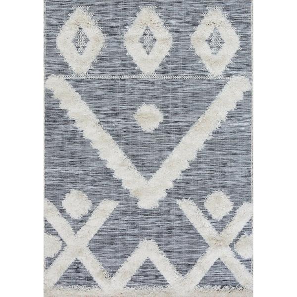 tapis tibal gris et blanc - art for kids