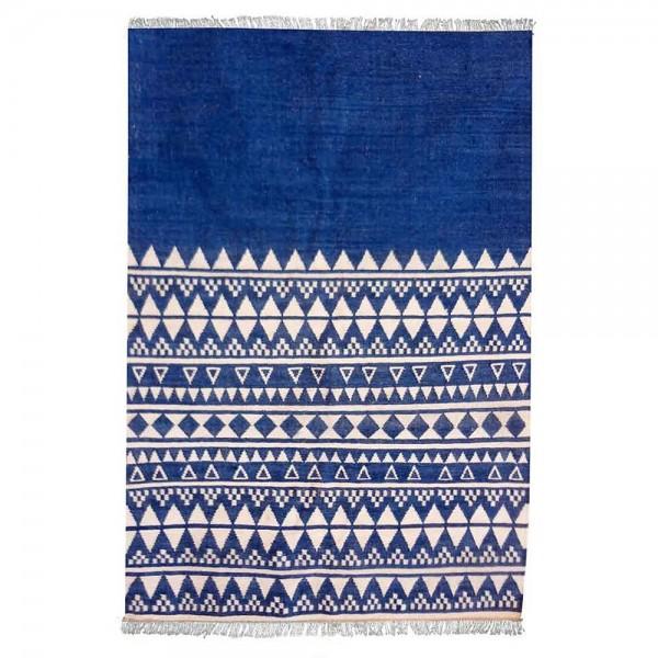 tapis kilim fait main fanore bleu the rug republic. Black Bedroom Furniture Sets. Home Design Ideas