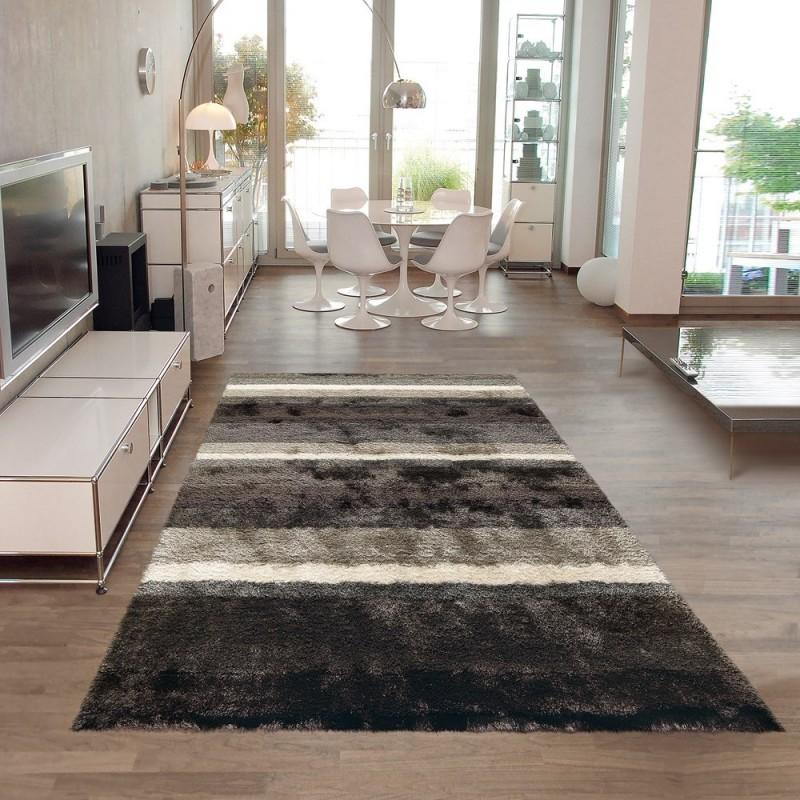 tapis shaggy funky gris et blanc arte espina 70x140. Black Bedroom Furniture Sets. Home Design Ideas