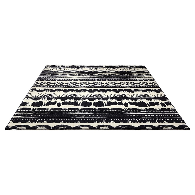 tapis moderne oasis noir et blanc esprit home 120x180. Black Bedroom Furniture Sets. Home Design Ideas