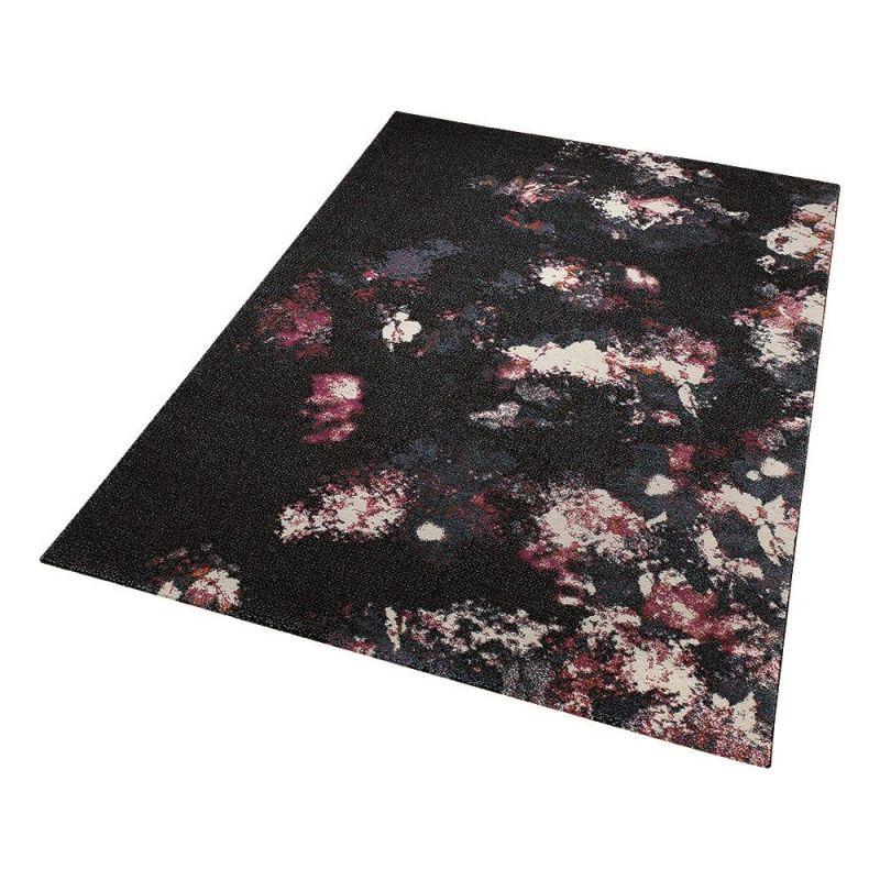 tapis moderne nocturnal flowers noir esprit home 80x150. Black Bedroom Furniture Sets. Home Design Ideas
