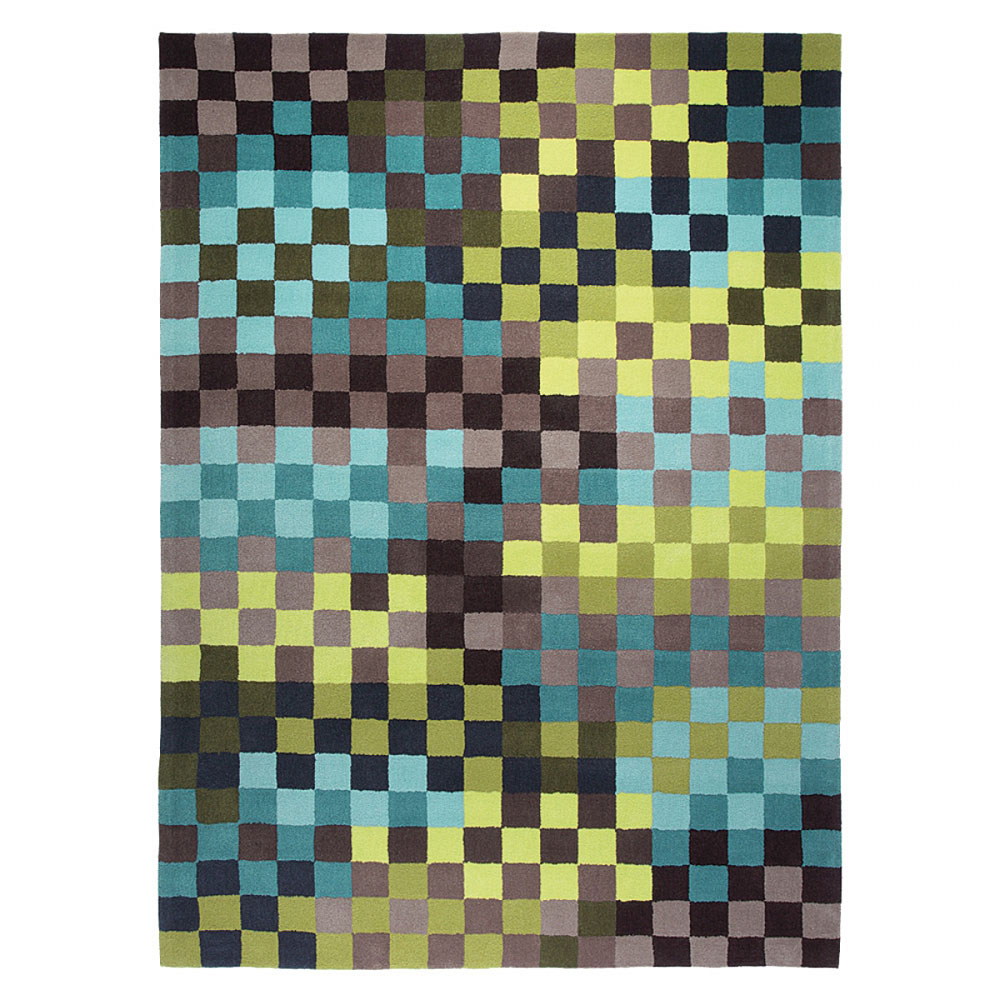 tapis pixel bleu et vert esprit home 120x180. Black Bedroom Furniture Sets. Home Design Ideas