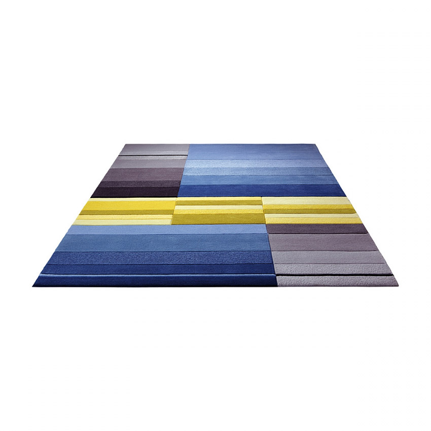 tapis split bleu et jaune esprit home 120x180. Black Bedroom Furniture Sets. Home Design Ideas