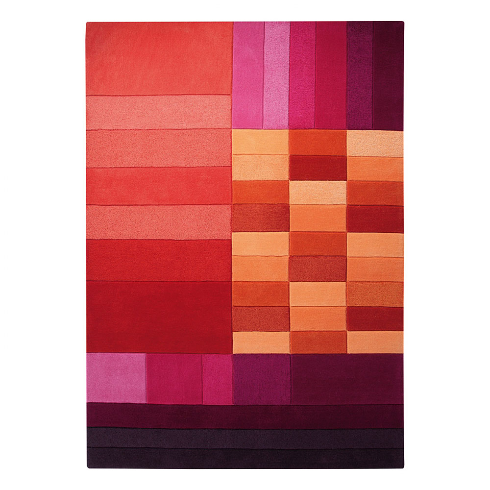 tapis various box rouge et orange esprit home 70x140. Black Bedroom Furniture Sets. Home Design Ideas