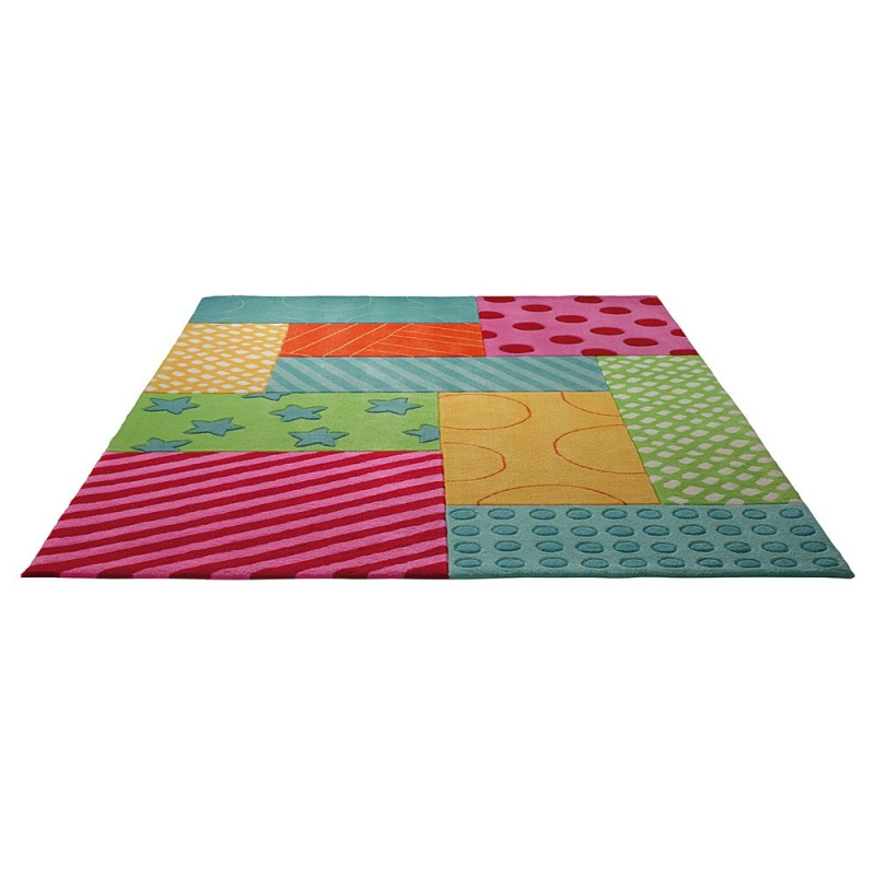 tapis esprit home enfant patchwork garden multicolore 90x160. Black Bedroom Furniture Sets. Home Design Ideas