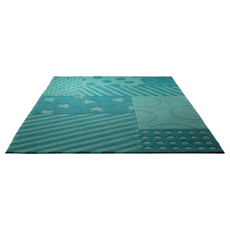 Tapis enfant stars and stripes turquoise esprit home 70x140 - Tapis enfant turquoise ...