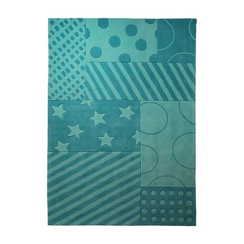 Tapis turquoise enfant esprit home stars and stripes 90x160 - Tapis turquoise enfant ...