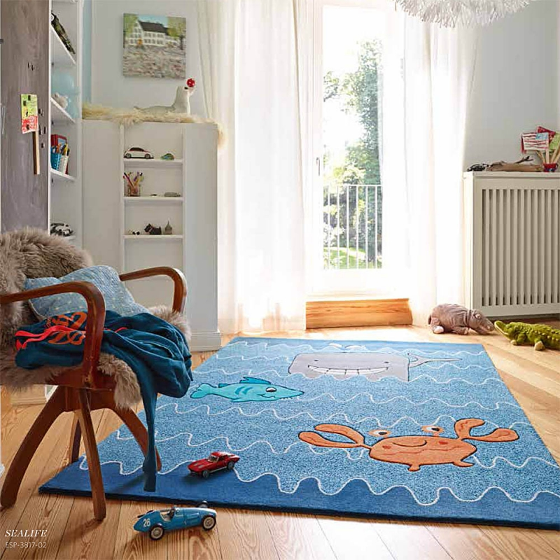 tapis enfant sealife bleu esprit home. Black Bedroom Furniture Sets. Home Design Ideas