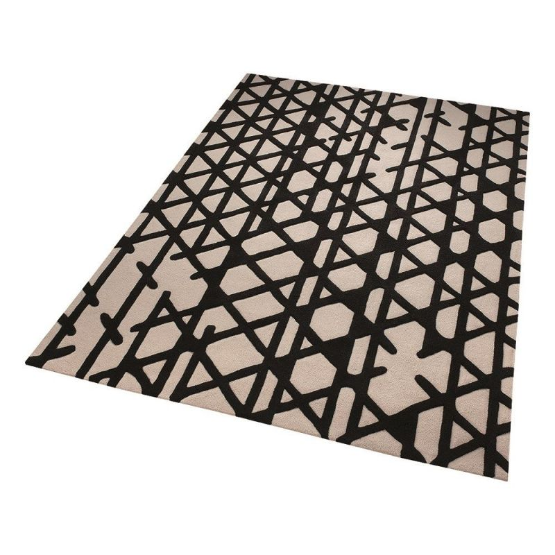 tapis esprit noir et blanc artisan pop moderne 120x180. Black Bedroom Furniture Sets. Home Design Ideas