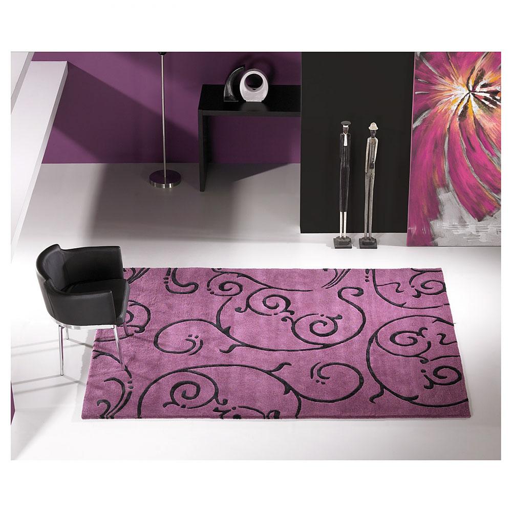 tapis moderne fedora carving en laine violet 140x200 - Tapis Moderne Violet