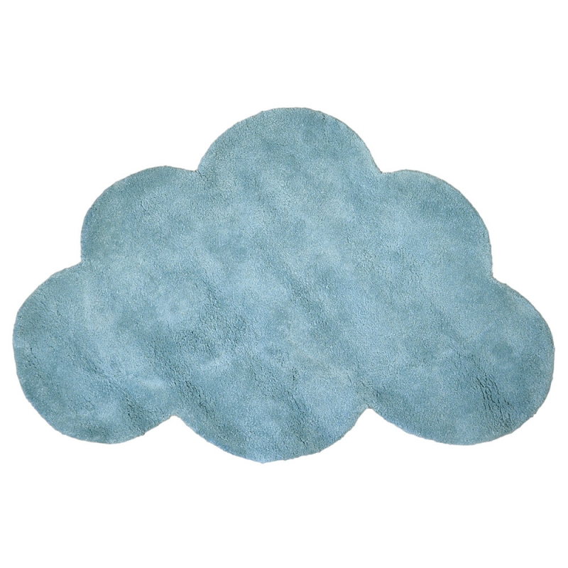 tapis enfant coton nuage bleu gris lilipinso 64x100. Black Bedroom Furniture Sets. Home Design Ideas