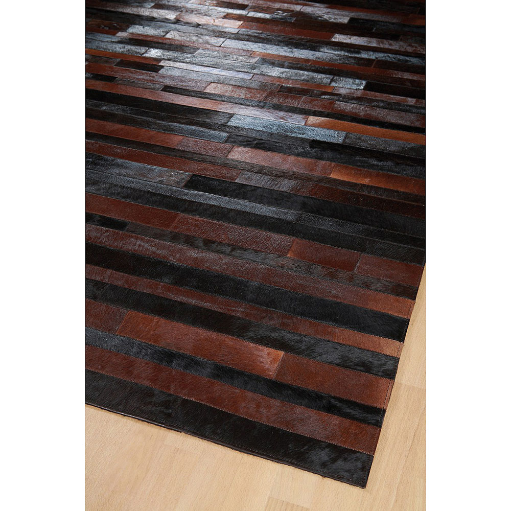 tapis jacob patchwork marron et noir home spirit 170x230. Black Bedroom Furniture Sets. Home Design Ideas