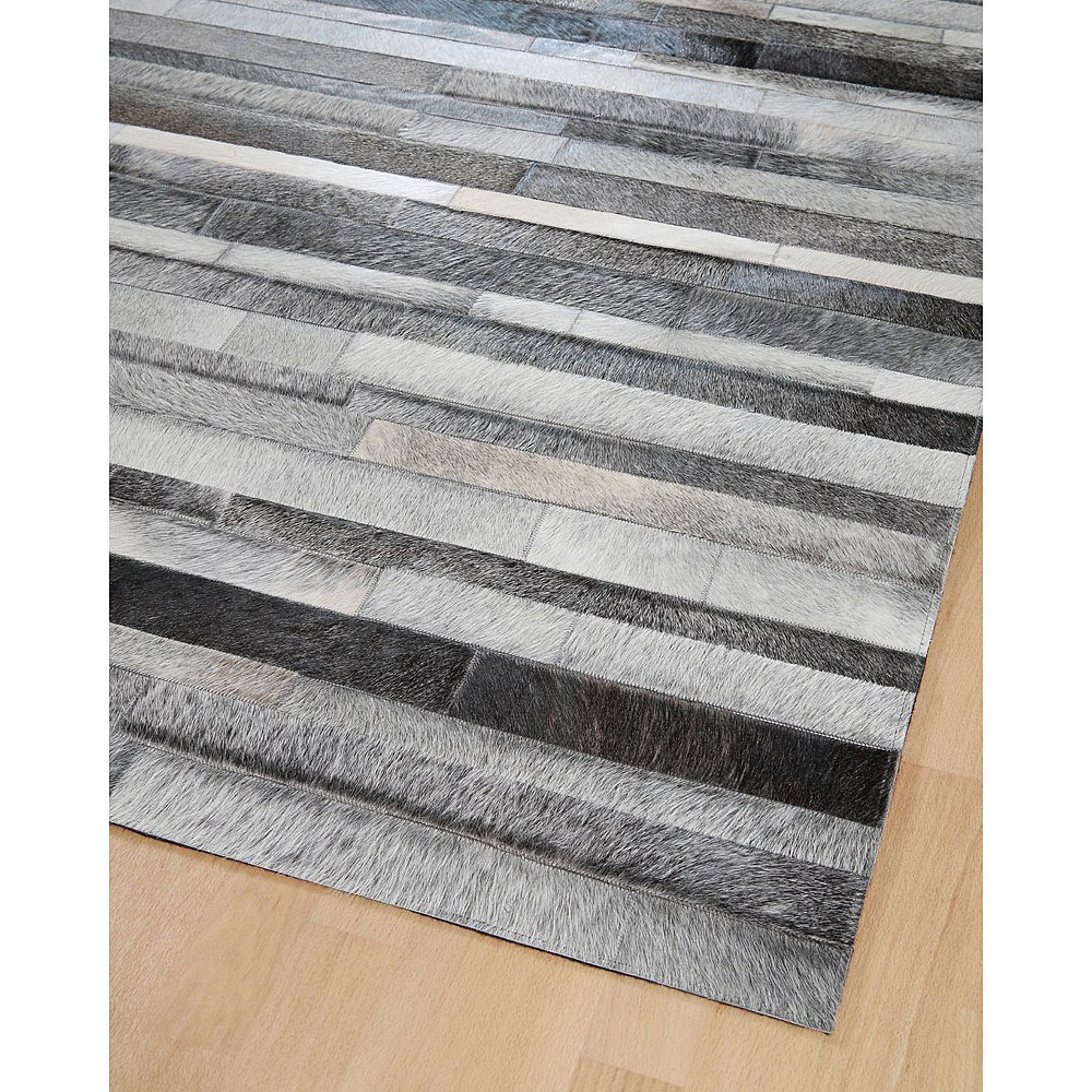 tapis en patchwork de cuir gris jacob home spirit 170x230. Black Bedroom Furniture Sets. Home Design Ideas