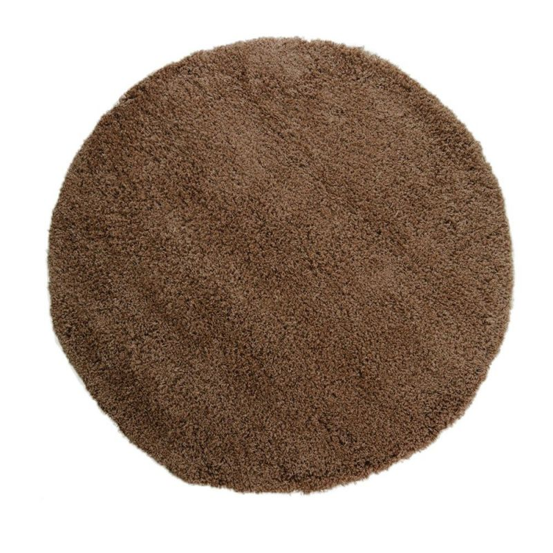 tapis shaggy rond marron 4cm flair rugs 133x133. Black Bedroom Furniture Sets. Home Design Ideas