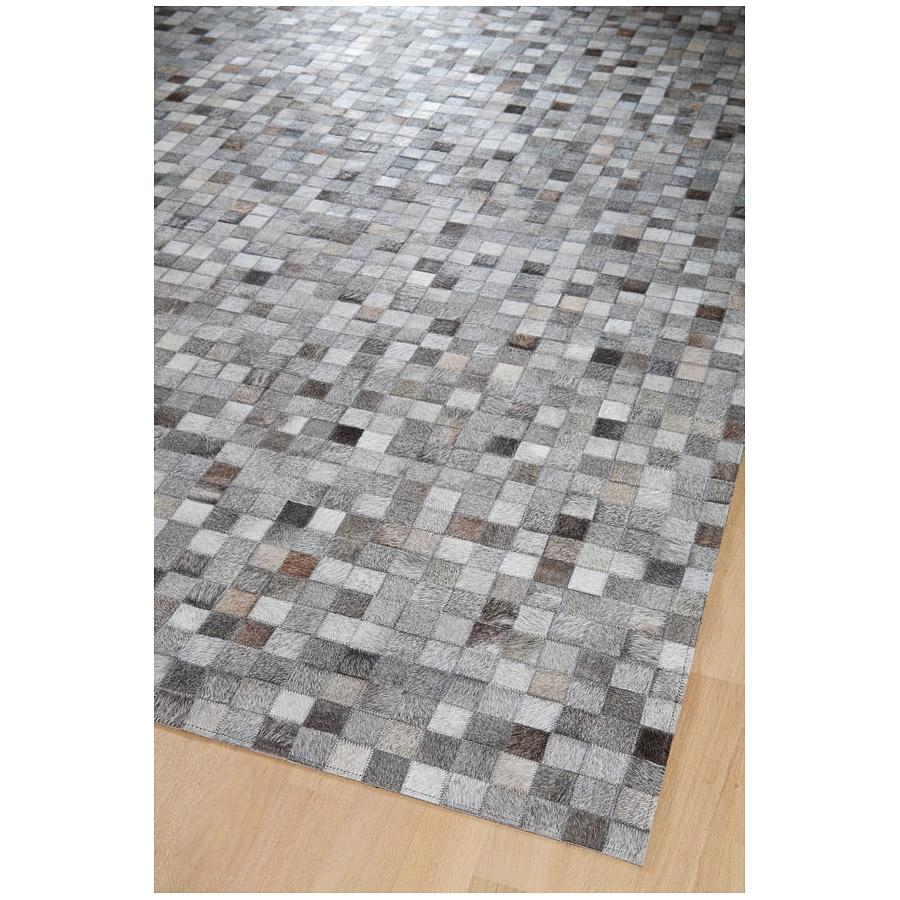 Tapis en cuir gris rodjer patchwork damier home spirit - Tapis cuir patchwork ...