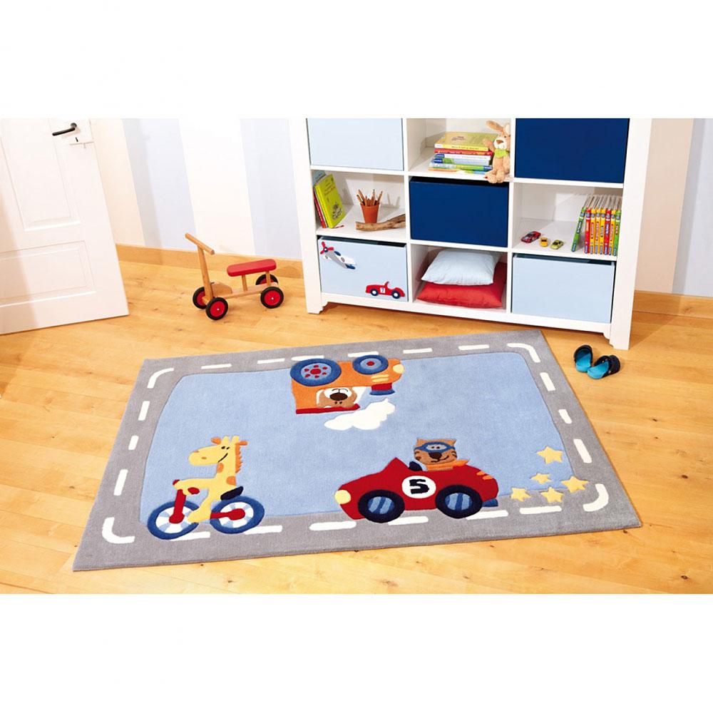 tapis enfant gris et bleu happy street traffic sigikid 120x180. Black Bedroom Furniture Sets. Home Design Ideas