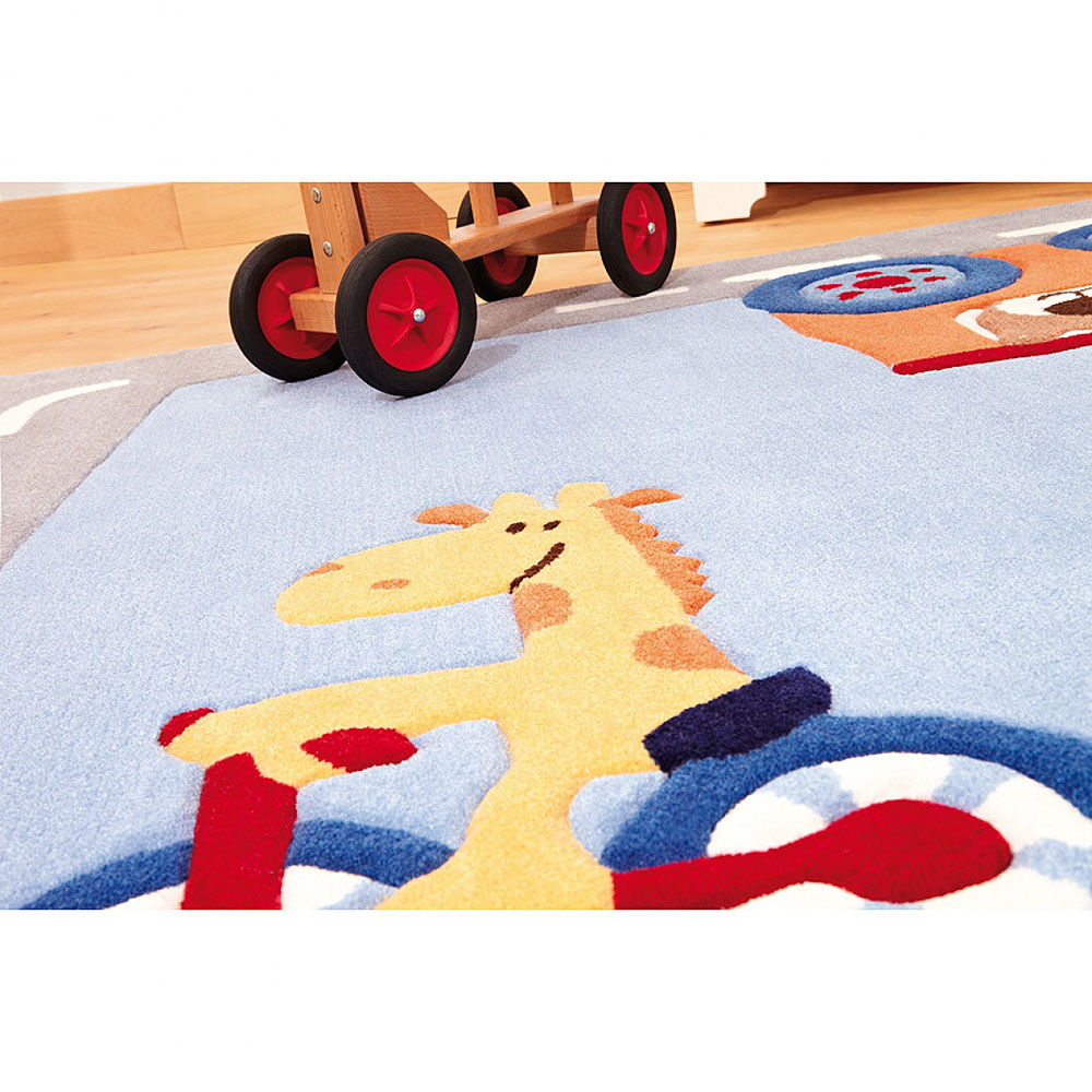 tapis enfant sigikid happy street traffic gris et bleu 140x200. Black Bedroom Furniture Sets. Home Design Ideas