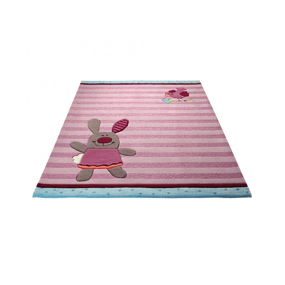 tapis enfant rose sigikid 3 happy friends stripes 90x160. Black Bedroom Furniture Sets. Home Design Ideas