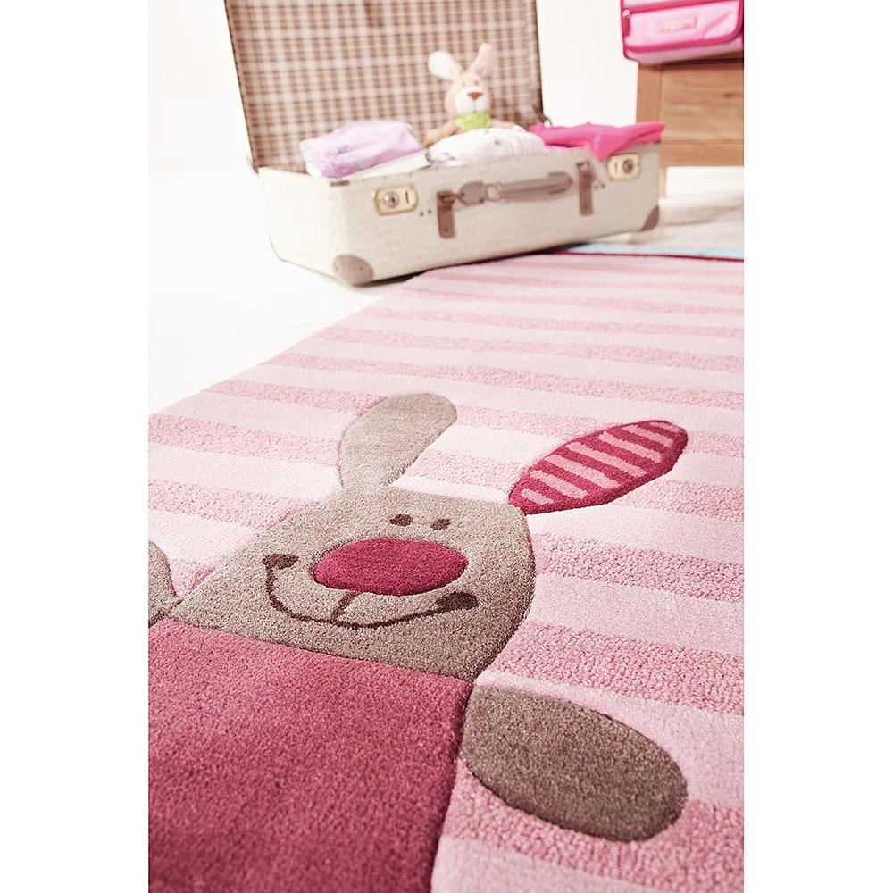tapis enfant rose 3 happy friends stripes sigikid 140x200. Black Bedroom Furniture Sets. Home Design Ideas