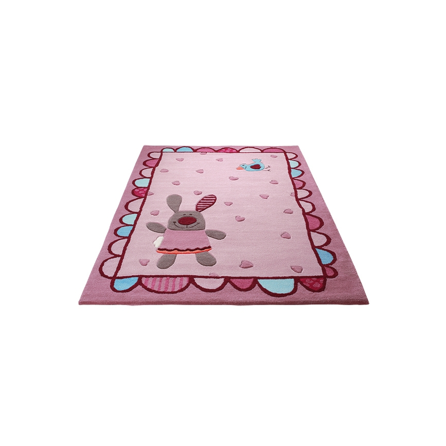 tapis enfant rose sigikids happy friends hearts 90x160. Black Bedroom Furniture Sets. Home Design Ideas