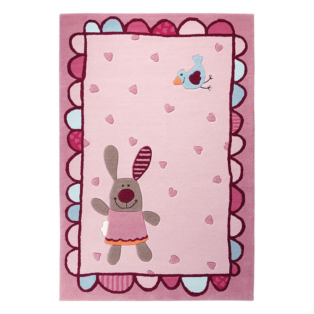 tapis enfant rose happy friends hearts sigikids 120x180. Black Bedroom Furniture Sets. Home Design Ideas