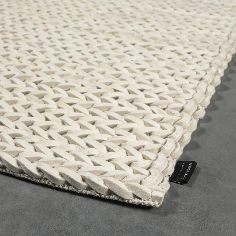 tapis angelo highland blanc en laine tiss main 170x240. Black Bedroom Furniture Sets. Home Design Ideas