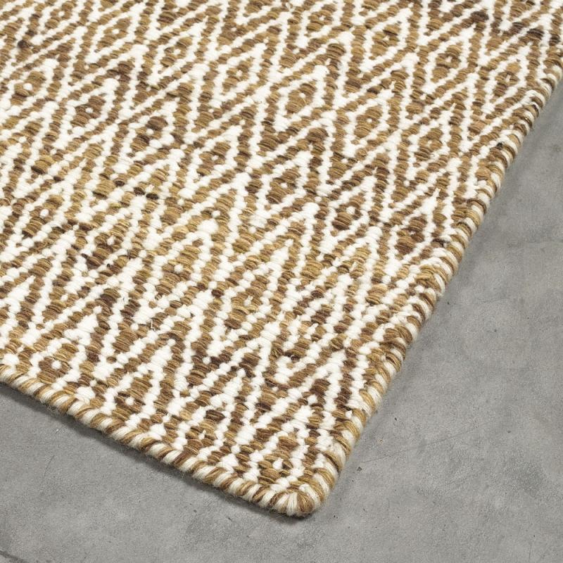 tapis en laine marron et beige mic mac angelo 200x300. Black Bedroom Furniture Sets. Home Design Ideas