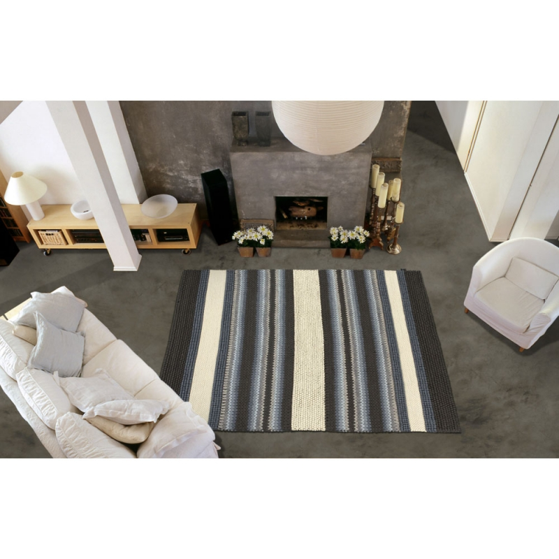 Tapis mood ray gris et beige angelo for Tapis raye noir beige