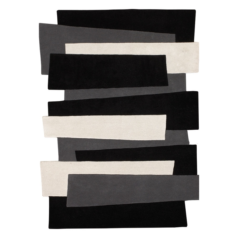 tapis en laine design pebbles noir et blanc angelo 70x140. Black Bedroom Furniture Sets. Home Design Ideas