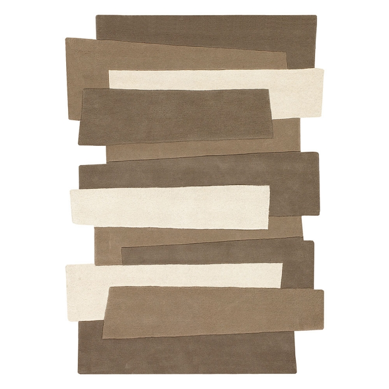 tapis en laine pebbles beige et taupe angelo 70x140. Black Bedroom Furniture Sets. Home Design Ideas