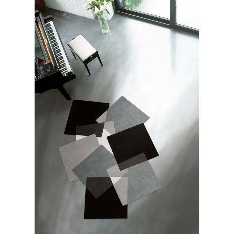 tapis design pebbles noir et blanc angelo 70x140. Black Bedroom Furniture Sets. Home Design Ideas