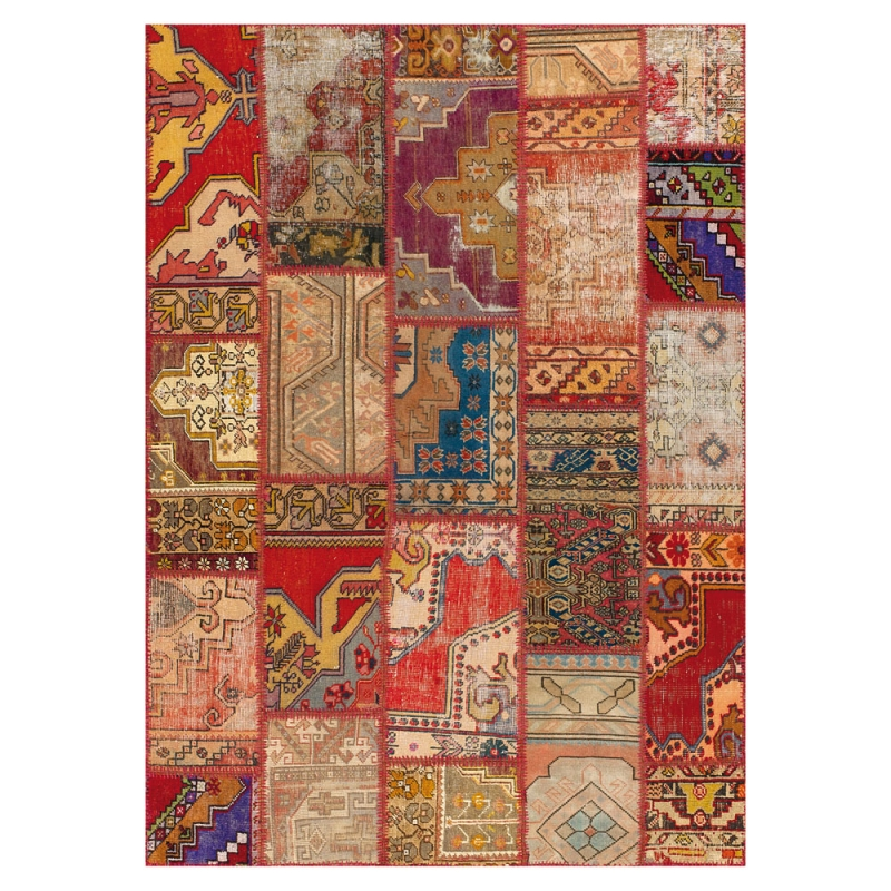 tapis patchwork rouge angelo up cycle 140x200. Black Bedroom Furniture Sets. Home Design Ideas
