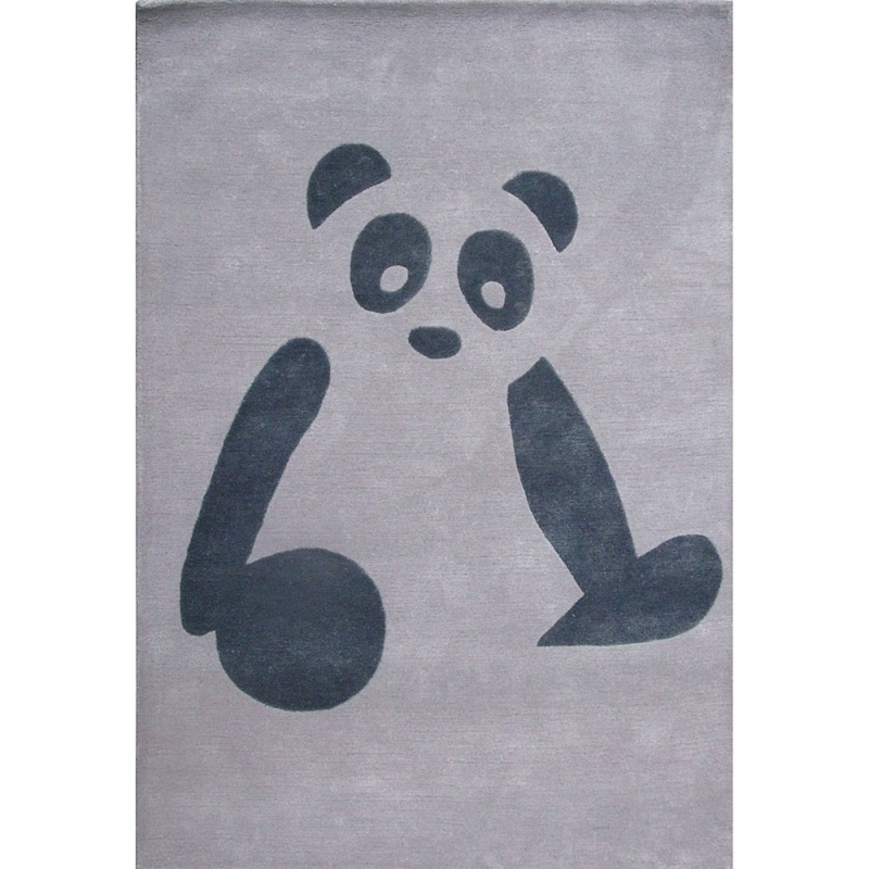 tapis enfant panda gris art for kids 110x160. Black Bedroom Furniture Sets. Home Design Ideas