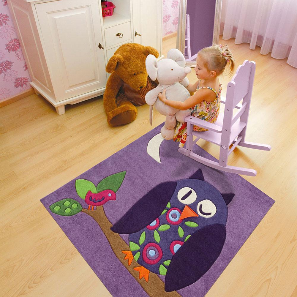tapis enfant hibou carr arte espina 130x130. Black Bedroom Furniture Sets. Home Design Ideas
