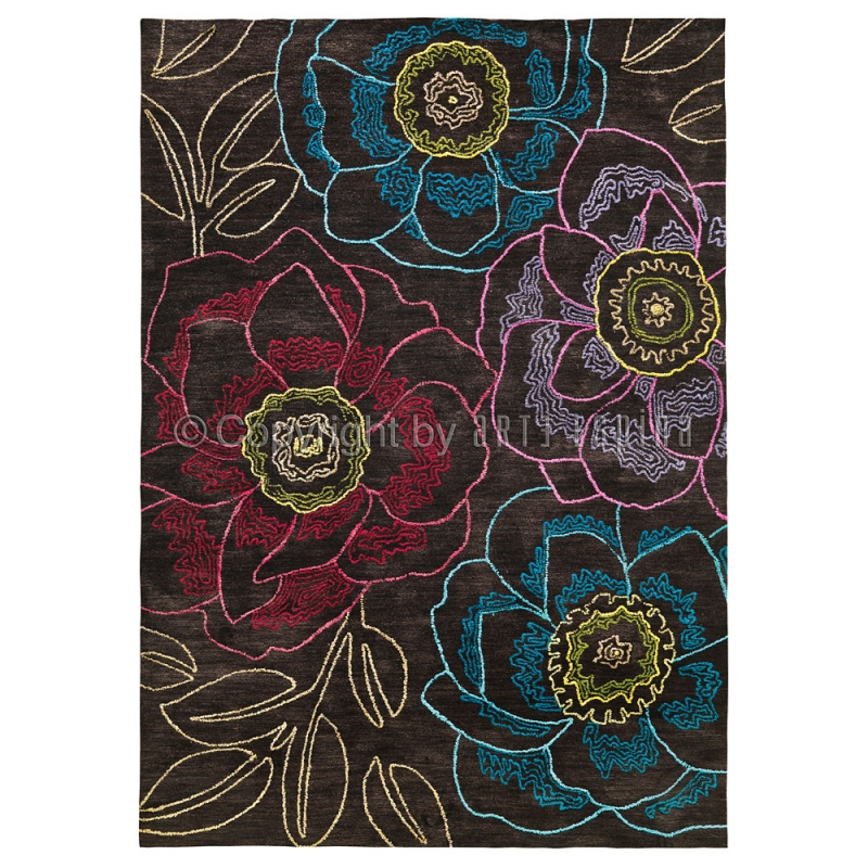 tapis floral tropical passion marron arte espina. Black Bedroom Furniture Sets. Home Design Ideas