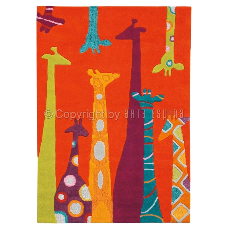 tapis enfant girafes orange arte espina 110x160. Black Bedroom Furniture Sets. Home Design Ideas