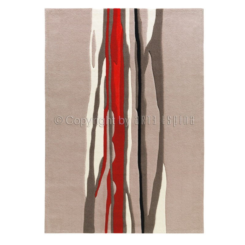 Tapis Red Trace Beige Et Rouge Arte Espina 70x140