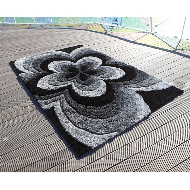 tapis 3d rose gris carving 140x200. Black Bedroom Furniture Sets. Home Design Ideas