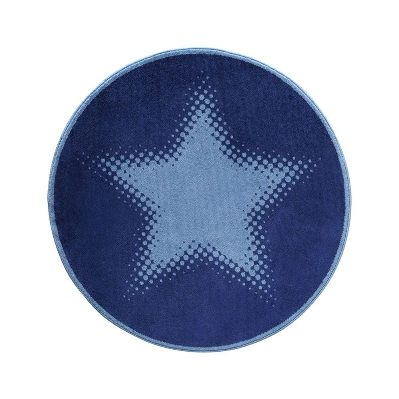 tapis wecon rond walk of fame bleu cosmic glamour 100x100. Black Bedroom Furniture Sets. Home Design Ideas