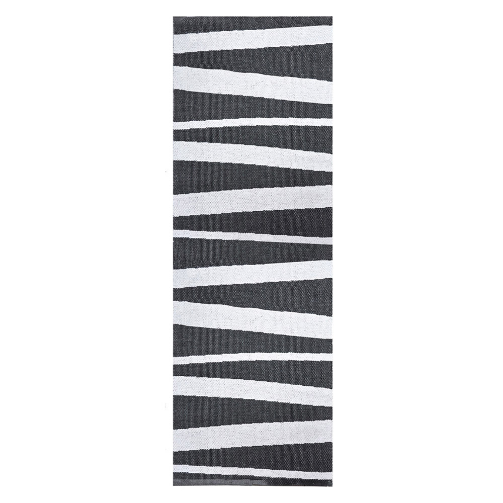 tapis de couloir are ray noir et blanc sofie sjostrom design 70x200. Black Bedroom Furniture Sets. Home Design Ideas