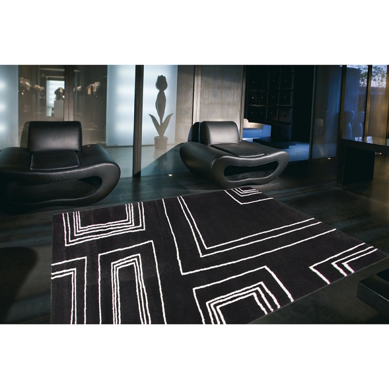 tapis moderne noir et blanc arizona 60x110. Black Bedroom Furniture Sets. Home Design Ideas