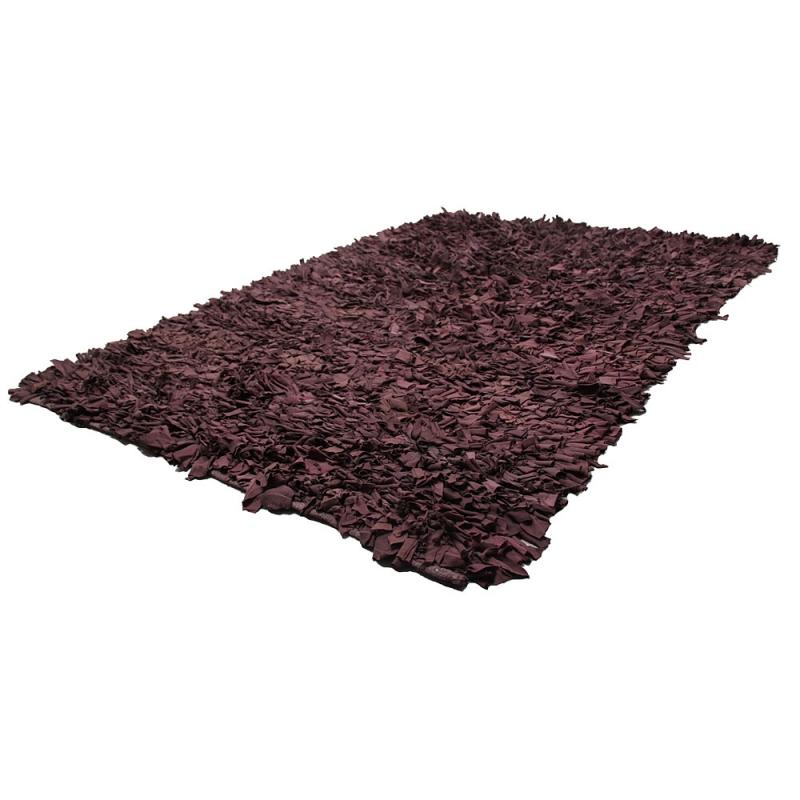 tapis shaggy moderne en coton marron coton 120x170. Black Bedroom Furniture Sets. Home Design Ideas