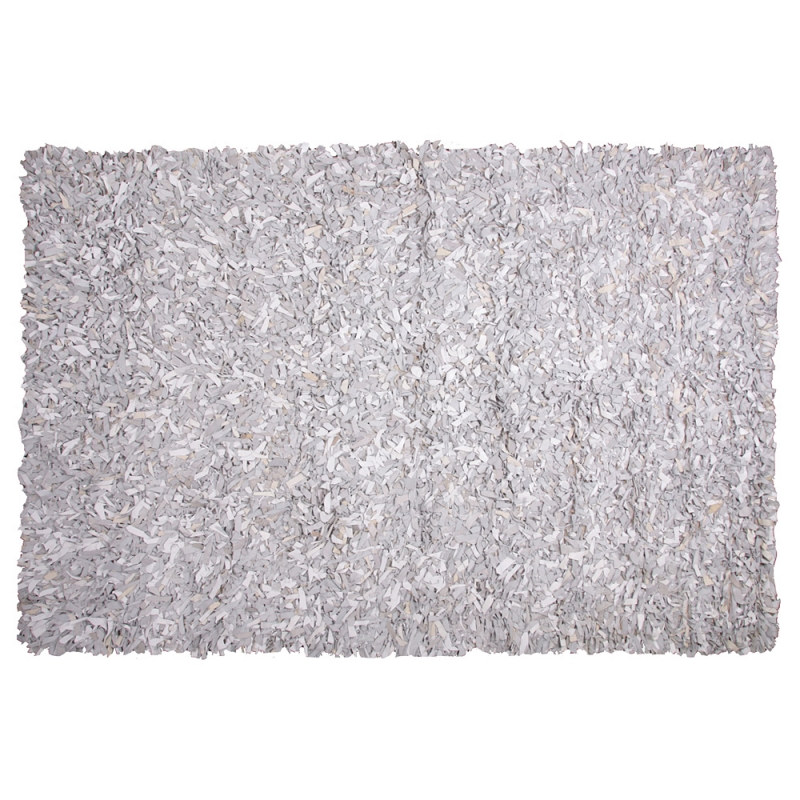 tapis shaggy cuir blanc et gris 160x230. Black Bedroom Furniture Sets. Home Design Ideas