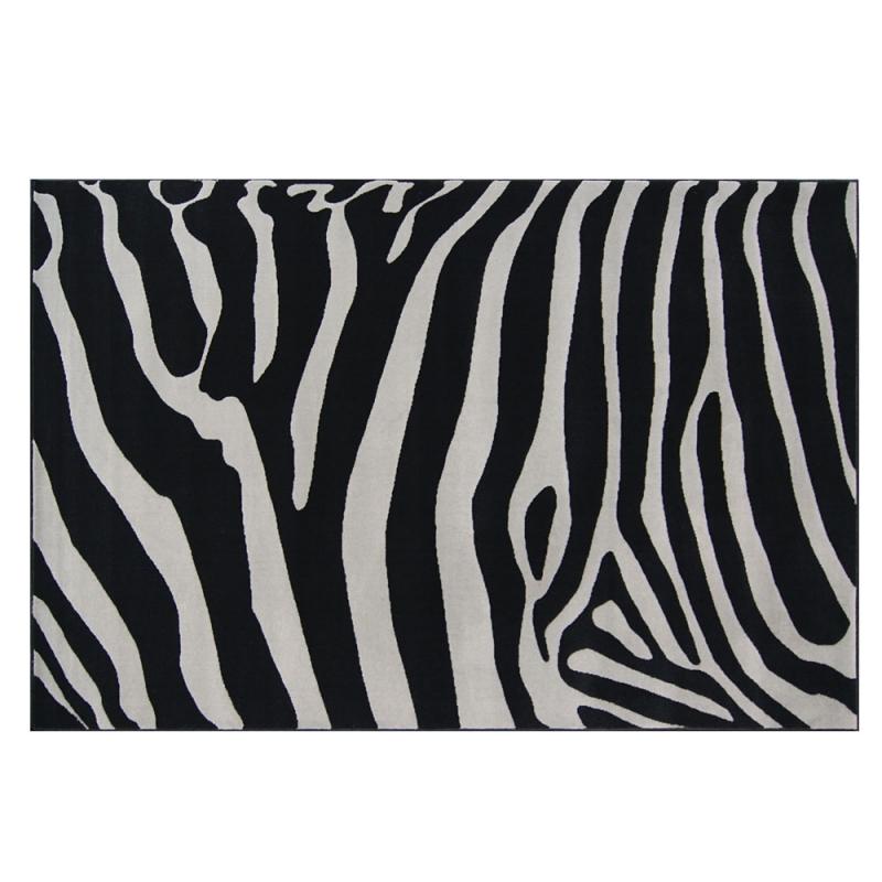 tapis design zebra noir et gris 120x170. Black Bedroom Furniture Sets. Home Design Ideas